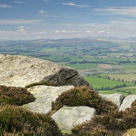 View from Simonside crags across the Coquet Valley towards the Cheviots.