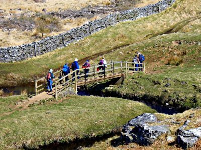Walkers on a Walk to Wellbeing session in Northumberland National Park