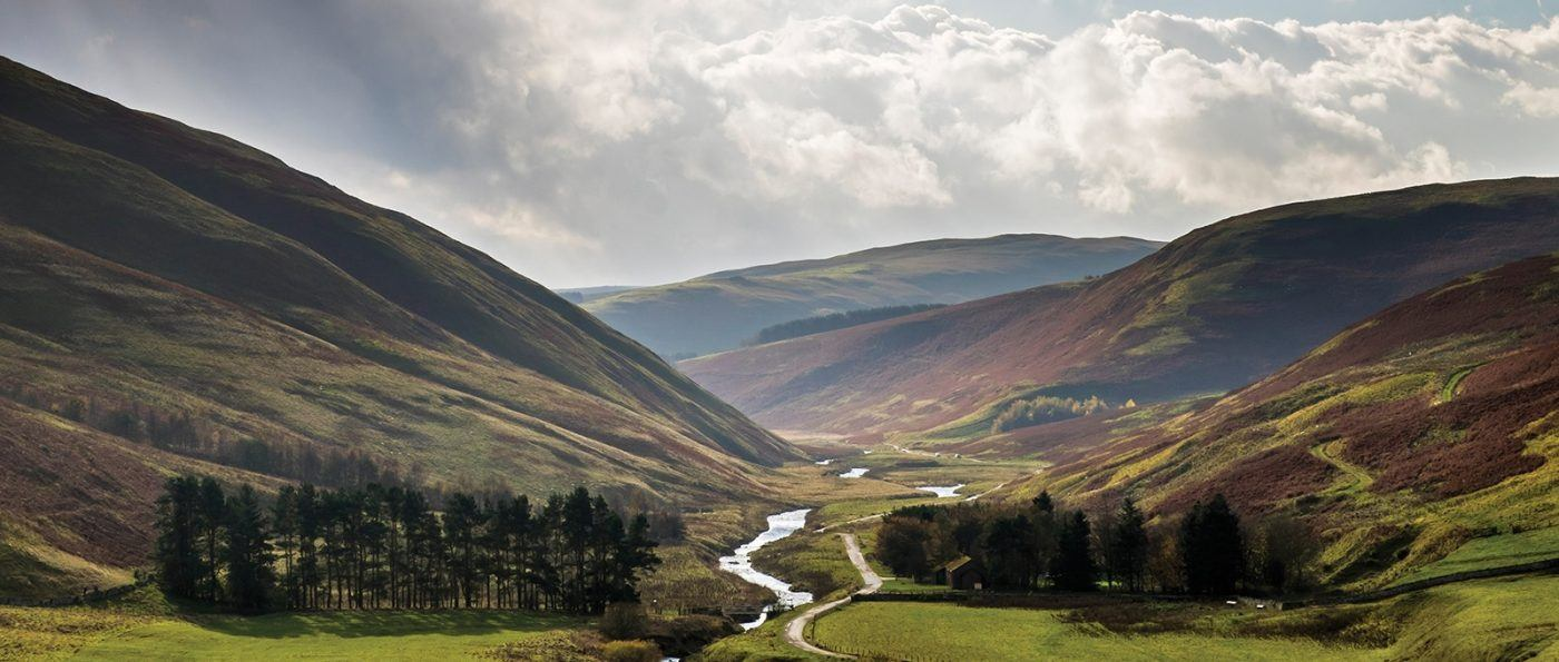 The view down the Coquet Valley towards Barrowburn from Barrow Law in Coquetdale