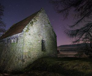 Woodhouses Bastle at night
