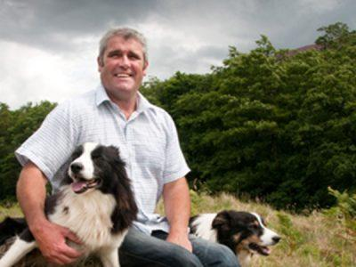 A farmer with two border collie dogs