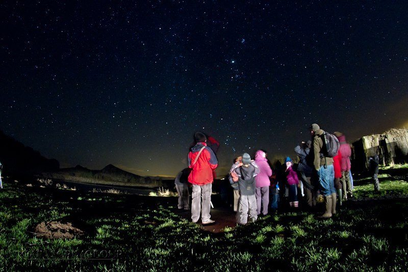 A group stargazing at Cawfields