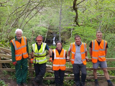 Volunteers working at Hareshaw Linn