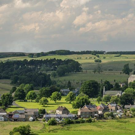 The village of Elsdon in the Coquet Valley, Northumberland National Park, England