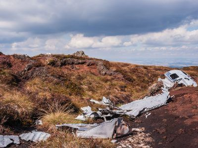 Wreckage of B17 flying fortress on blaydon crag
