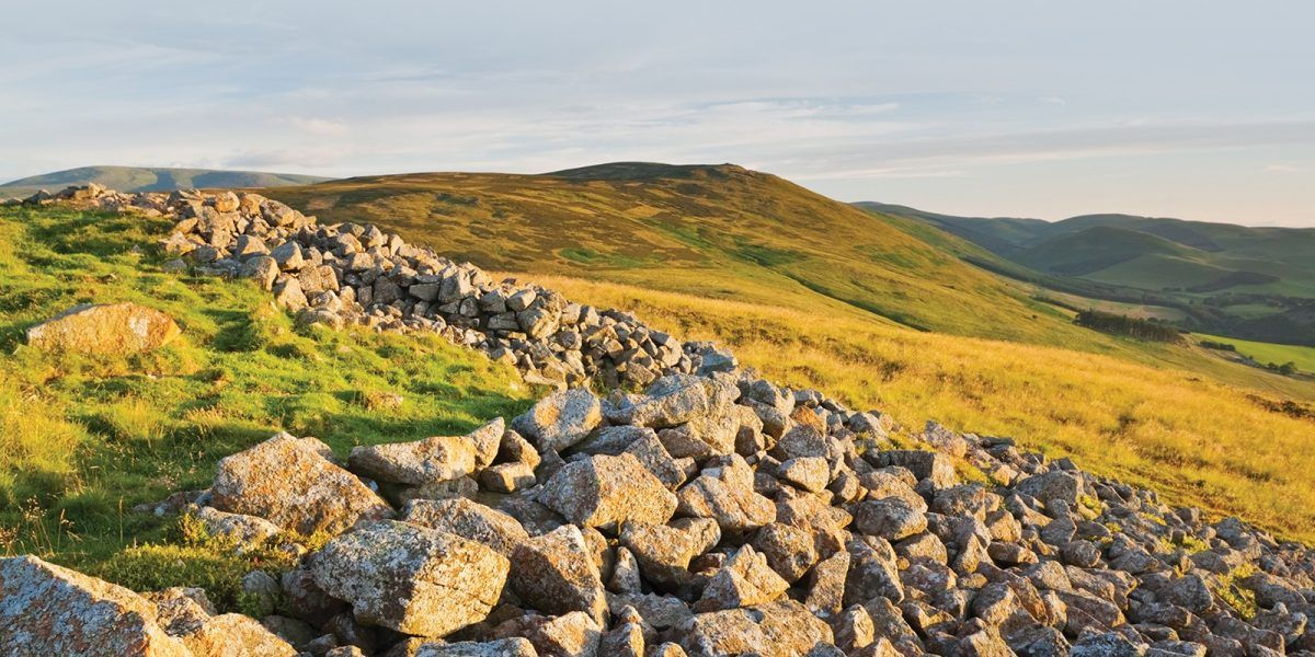 The remains of the boundary walls of Yeavering Bell