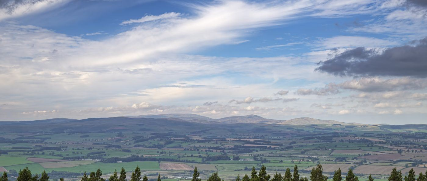 Looking across to the Cheviot Hills from the Simonside forest road, Northumberland National Park, England