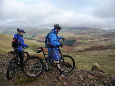 Mountain bikers in the Cheviot Hills