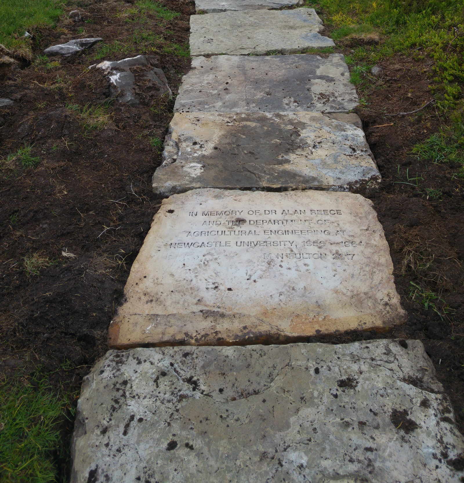 Commemorative stone at Simonside