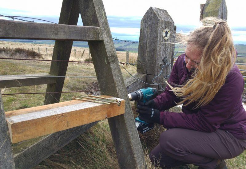 Young Ranger Volunteer installing a fence