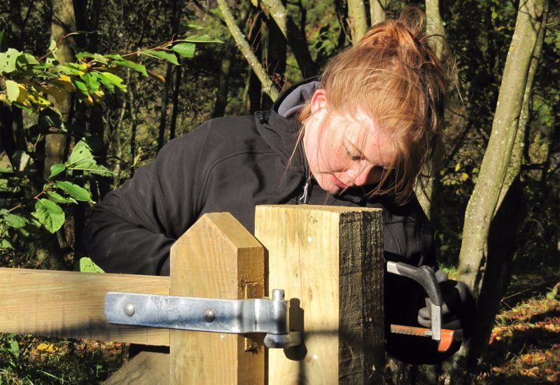 Young Ranger Volunteer Anna installing a gate