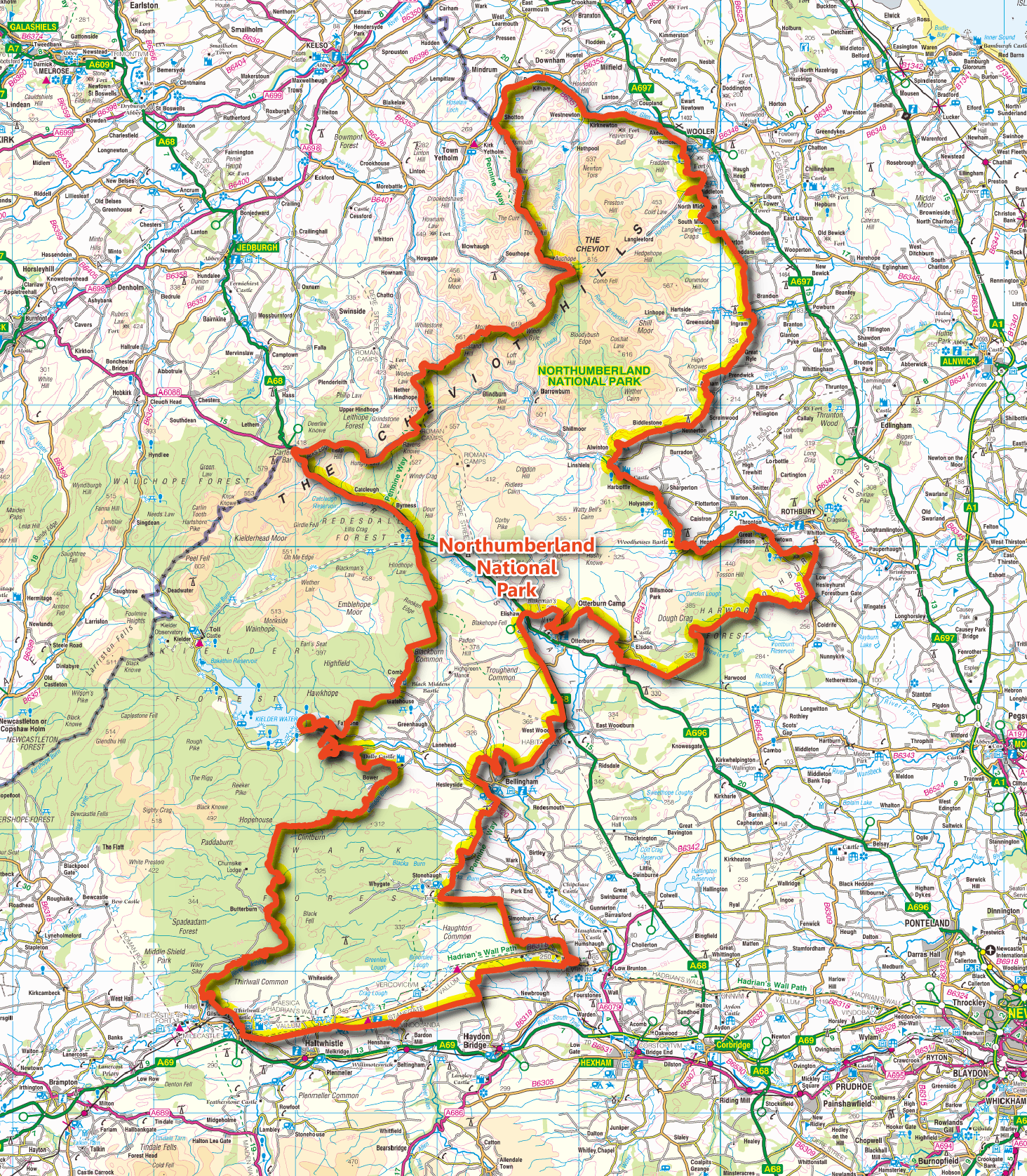 Map showing Northumberland National Park