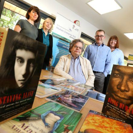 Bloodaxe Books staff with Tony Gates