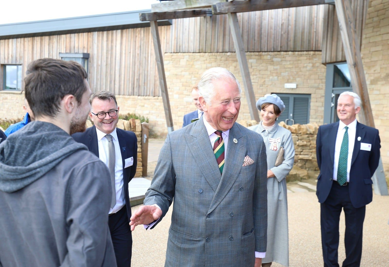 Prince of Wales meets young Princes Trust rep with Tony Gates, Duchess N.Land & Glen Sanderson