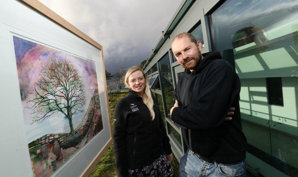 Rosie Thomas, Business Development Director at Northumberland National Park Authority with artist, David Holliday.