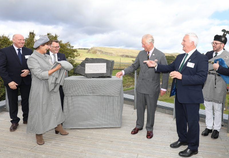 Prince Charles unveiling a memorial stone at The Sill