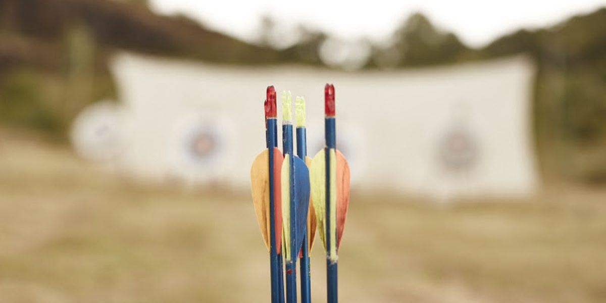 Arrows stuck in the ground and targets behind them