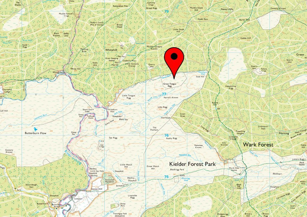 An Ordnance Survey map showing the location of a bog in the National Park