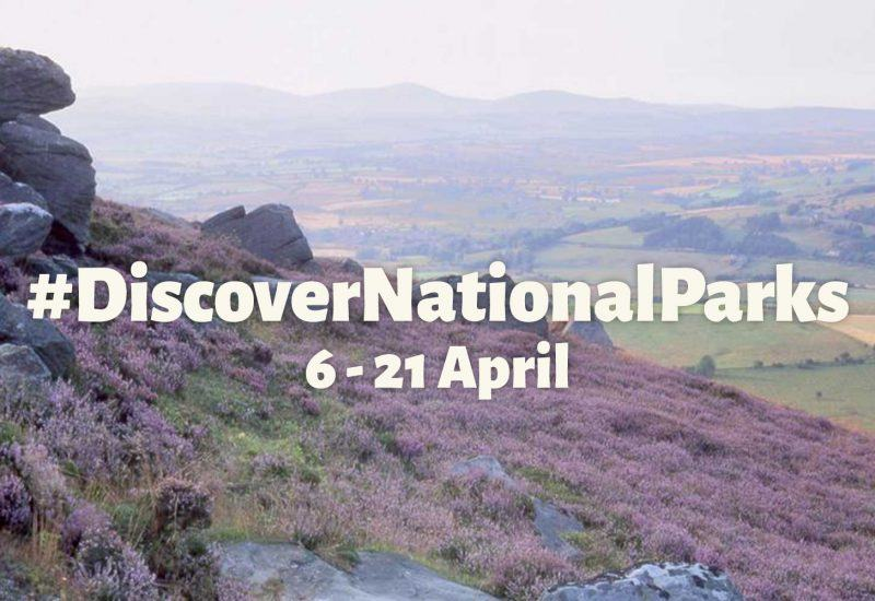 An images of the simonside hills with text overlaid reading Discover National Parks 6th to 21st April