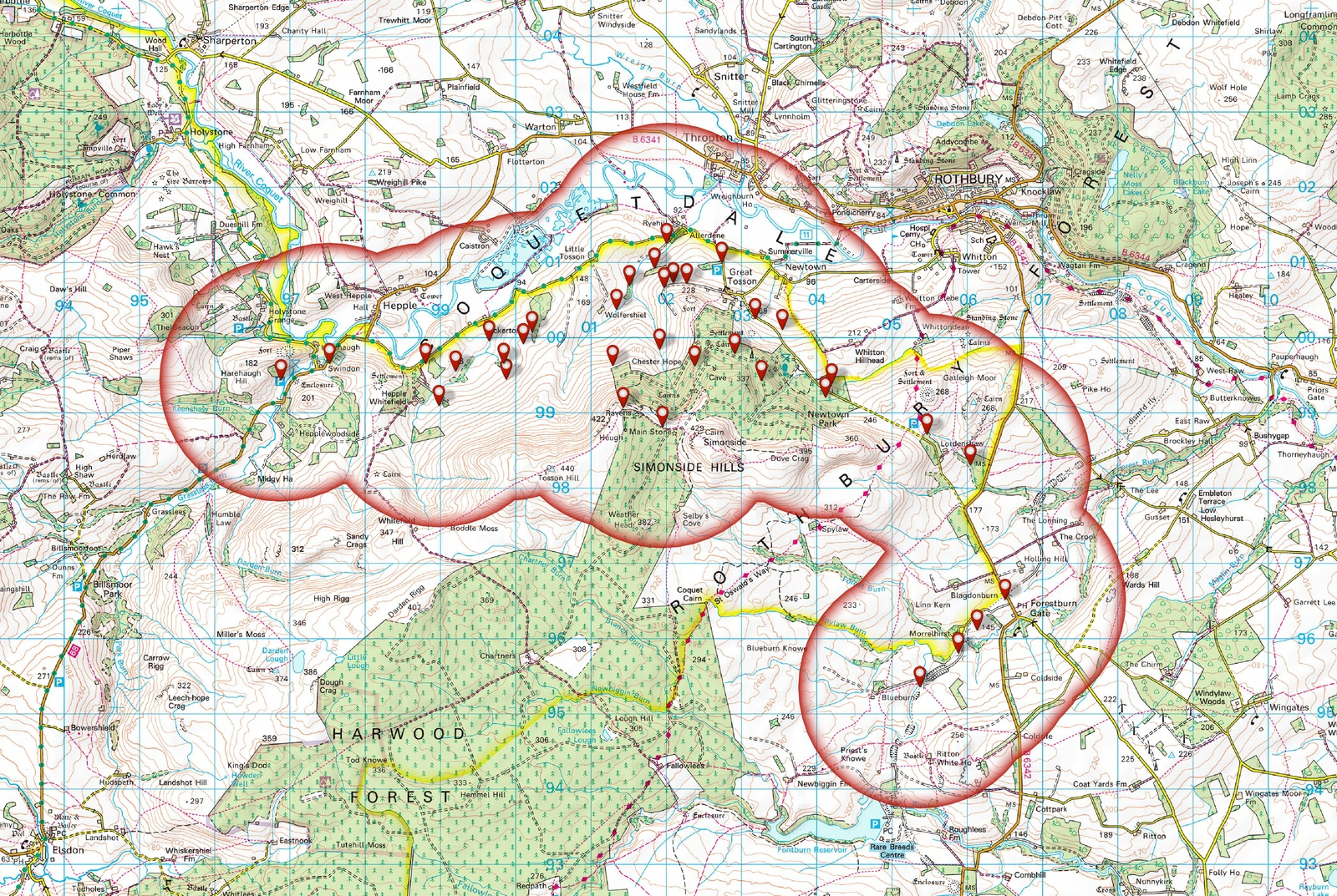 Map showing Willows in the Simonside Hills
