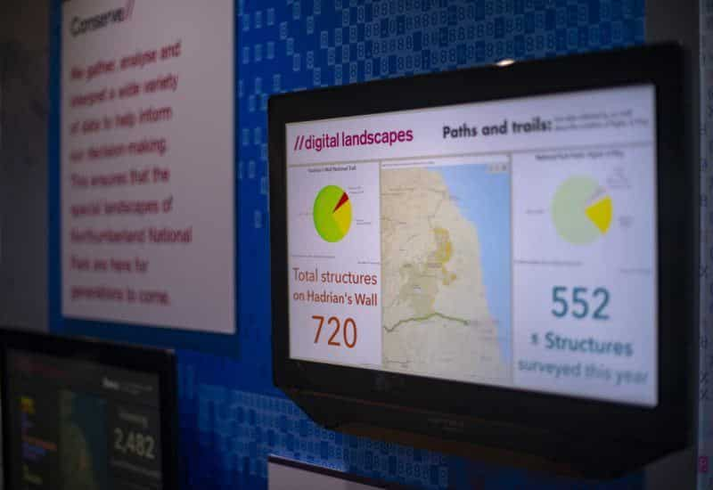 A data screen in the Digital Landscapes Exhibition