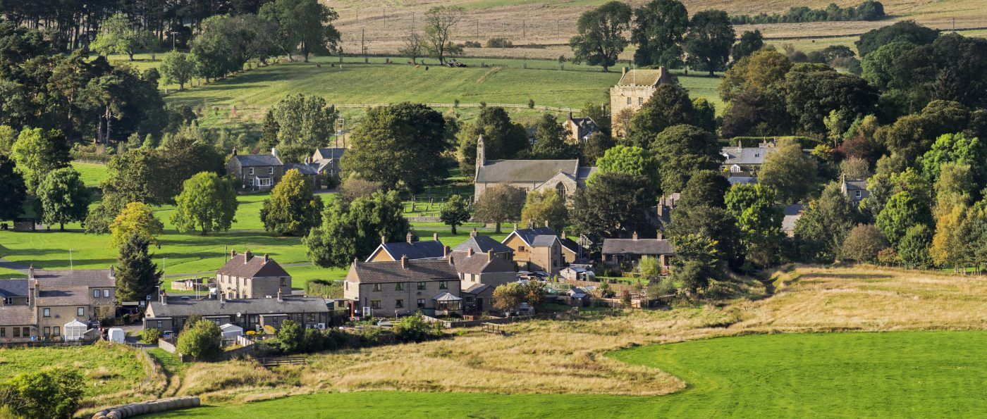 Panoramic view of the village of Elsdon, Northumberland National Park, England