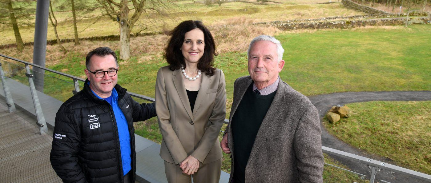 Northumberland National Park Chief Executive Tony Gates, Secretary of State for Environment, Food, and Rural Affairs, Theresa Villiers and Northumberland National Park Chairman Glen Sanderson