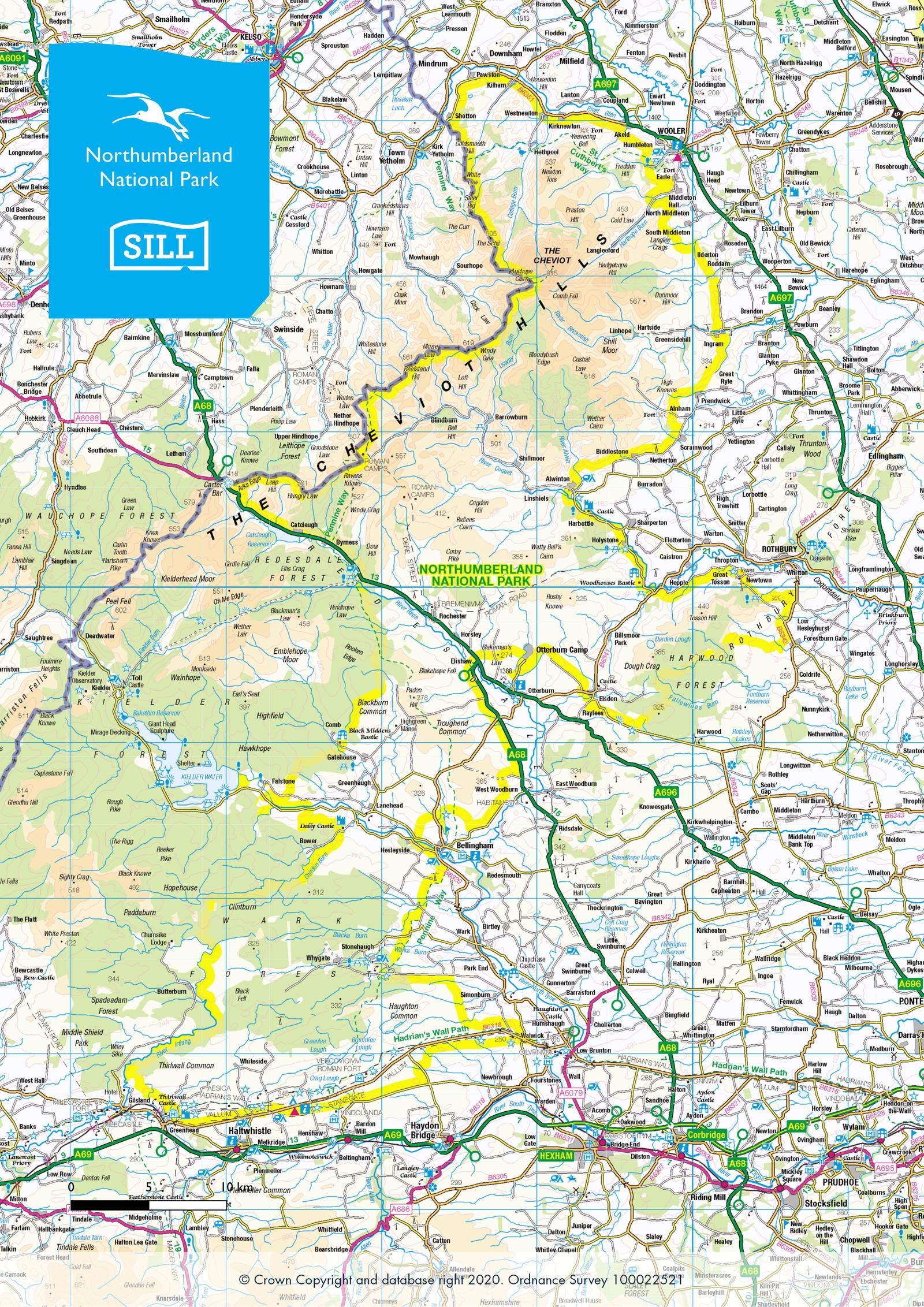 Detailed map showing the boundary of Northumberland National Park