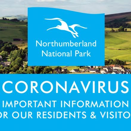 """A view of the countryside, overlaid with the National Park logo and text reading, """"Coronavirus important information for residents and visitors"""