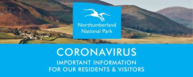 """A view of the Cheviot hills with the Northumberland National Park logo in the centre. Text reads """"Coronavirus Important information for our residents and visitors."""""""