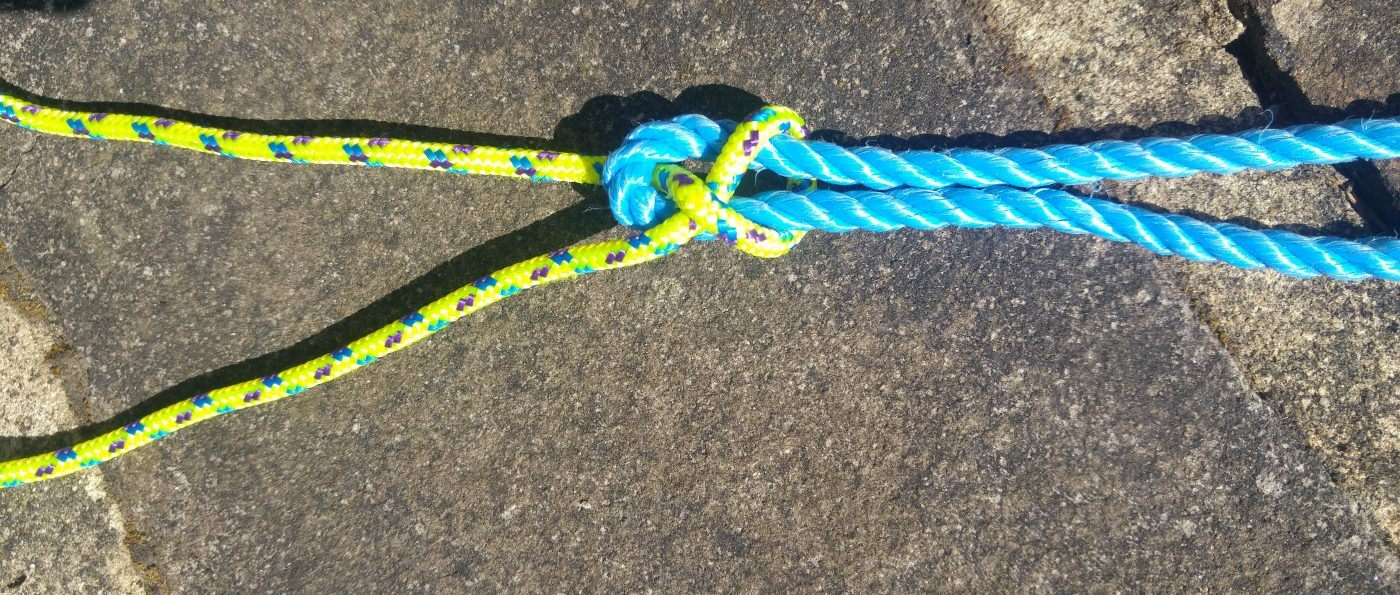 A completed sheet bend knot